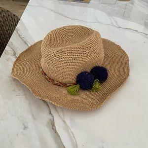 Hat Attach Straw Pompom Summer Hat